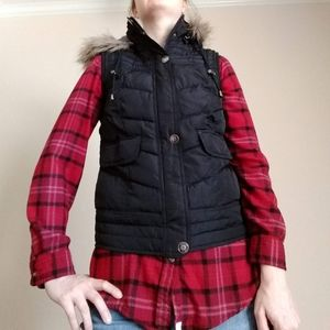 Black puffer vest with detachable hood - Size Med